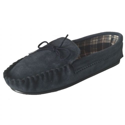 Navy Size 7 Cotton Lined Moccasin Slippers